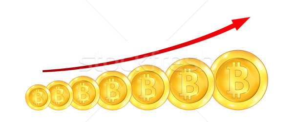Infographic Uptrend Line Arrow for Bitcoin Sign on White Background Stock photo © smeagorl