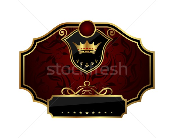 golden frame label with crown Stock photo © smeagorl