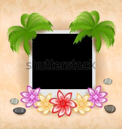 Esotiche naturale vuota photo frame palma illustrazione Foto d'archivio © smeagorl