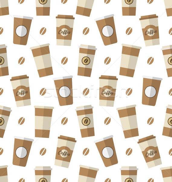 Jetable tasses de café illustration wallpaper simple Photo stock © smeagorl