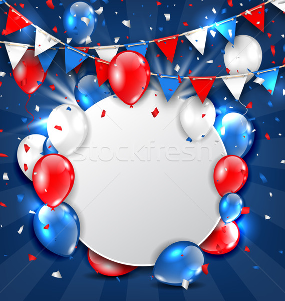 Greeting Card for American Holidays, Colorful Bunting, Balloons and Confetti Stock photo © smeagorl