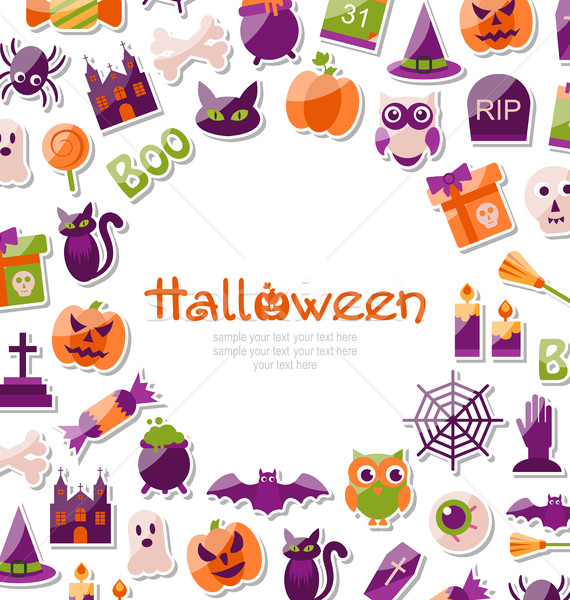 Halloween Card. Set of Bright Signs, Icons and Objects Stock photo © smeagorl