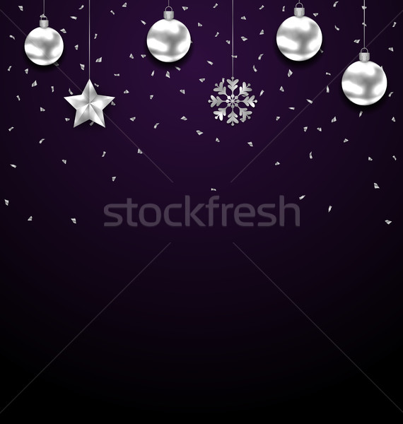Christmas donkere zilver groet luxe banner Stockfoto © smeagorl