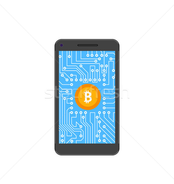 Bitcoin, Crypto Currency, Concept of Mining Digital Money, Bit-Coin and Smart Phone Stock photo © smeagorl