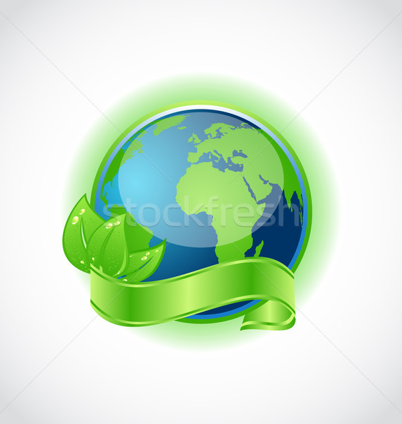 Green earth with leaves wrapped ribbon isolated Stock photo © smeagorl
