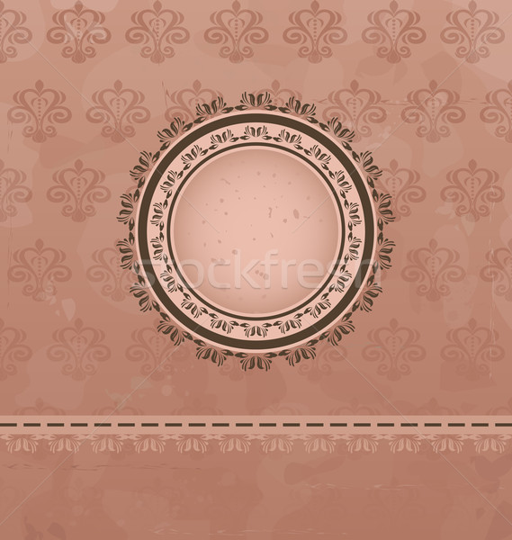 Vintage background with floral medallion Stock photo © smeagorl