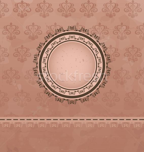 Jahrgang floral Medaillon Illustration Textur Buch Stock foto © smeagorl
