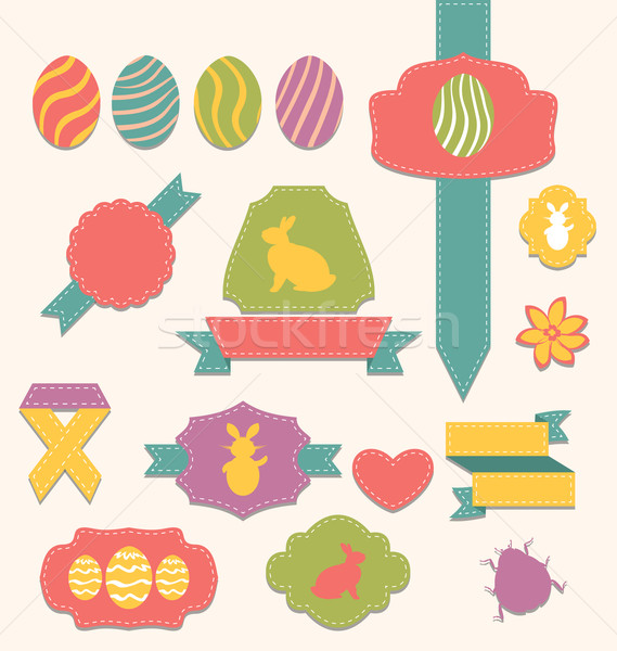 Easter scrapbook set - labels, ribbons and other elements (1) Stock photo © smeagorl