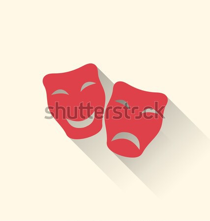 Flat icons of comedy and tragedy masks for Carnival or theatre Stock photo © smeagorl