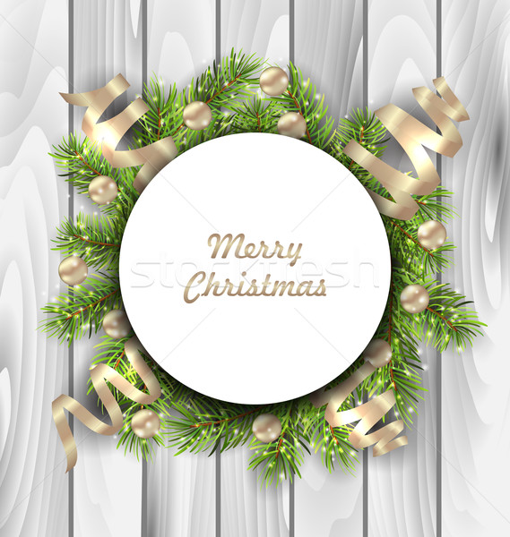 Merry Christmas Card with Fir Twigs, Balls and Serpentine Stock photo © smeagorl