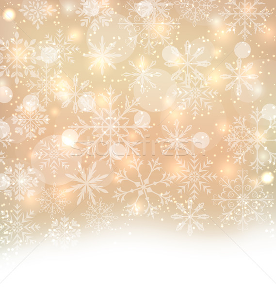 Shimmering Xmas Light Background with Snowflakes, Winter Wallpap Stock photo © smeagorl