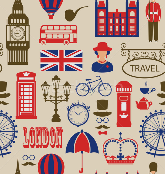 Old Seamless Texture of Silhouettes Symbols of Great Britain, Stock photo © smeagorl