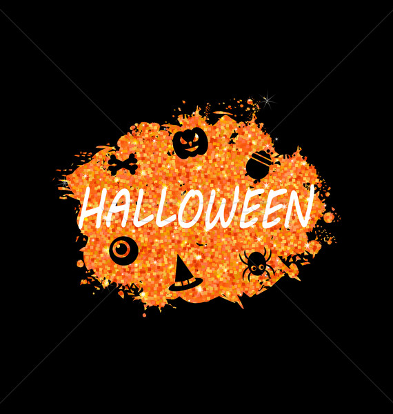 Stock photo: Glowing Orange Template for Happy Halloween Party
