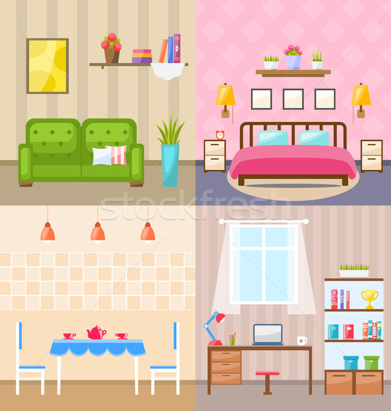 Set Room Interiors with Furniture Flat Icons Stock photo © smeagorl