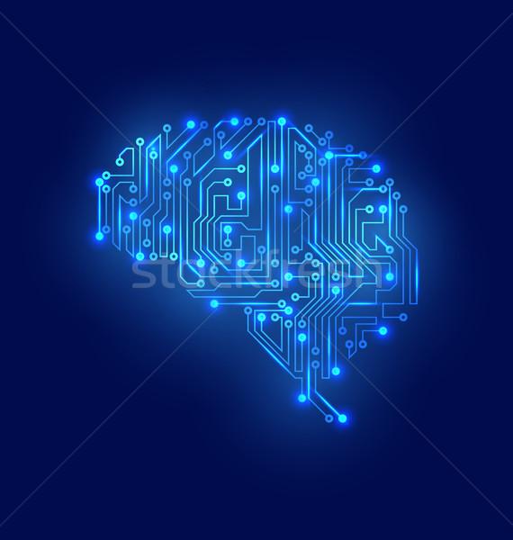 Estilizado cerebro circuito textura electricidad mente Foto stock © smeagorl