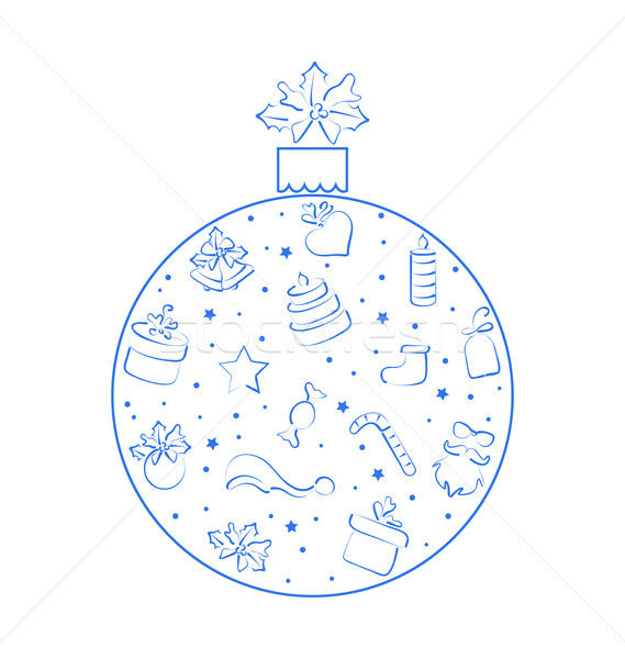 Abstract ball made in xmas hand drawn elements, isolated on whit Stock photo © smeagorl