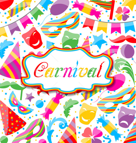Festive card with carnival and party colorful icons and objects Stock photo © smeagorl