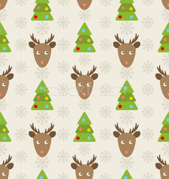 Christmas Seamless Pattern with Deers Stock photo © smeagorl