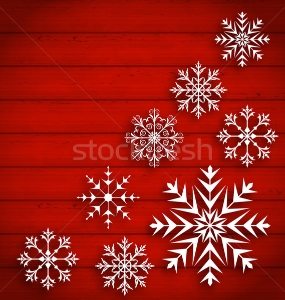 Set Abstract Different Snowflakes on Wooden Texture Stock photo © smeagorl