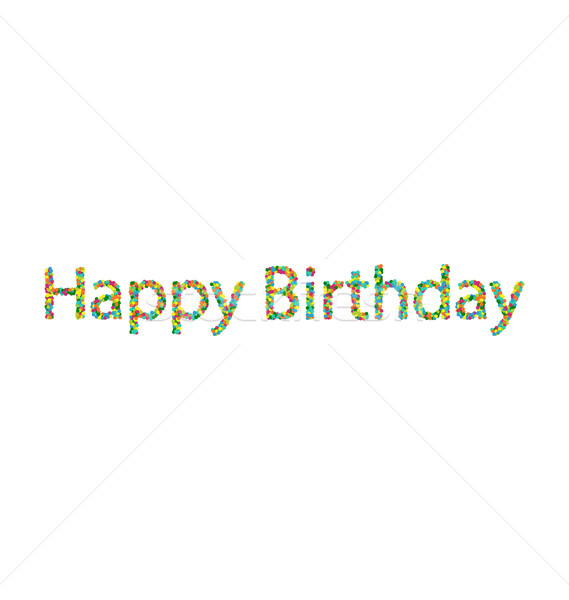 Stock photo: Happy birthday lettering from colourful confetti