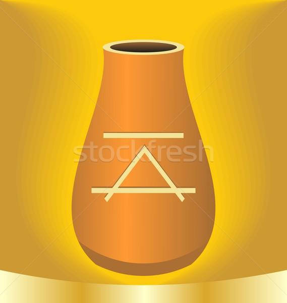 Illustrazione antica brocca simbolo oro colore Foto d'archivio © smeagorl