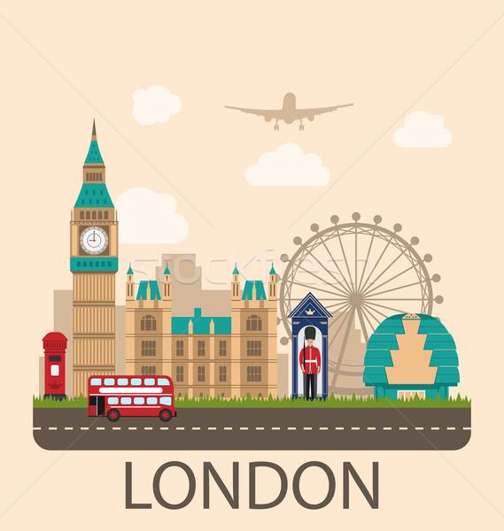 Ontwerp poster reizen Engeland illustratie stedelijke Stockfoto © smeagorl