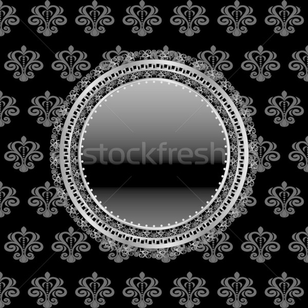 heraldic circle shield on floral background Stock photo © smeagorl
