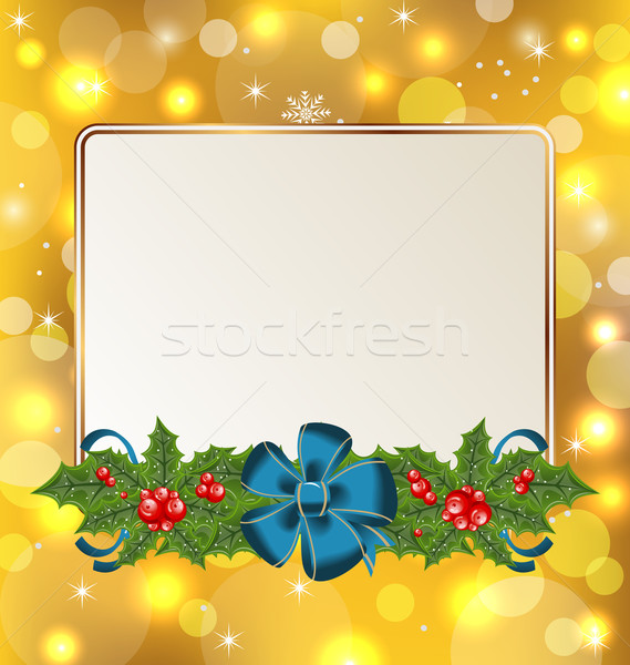 Christmas cute card with mistletoe and bow Stock photo © smeagorl