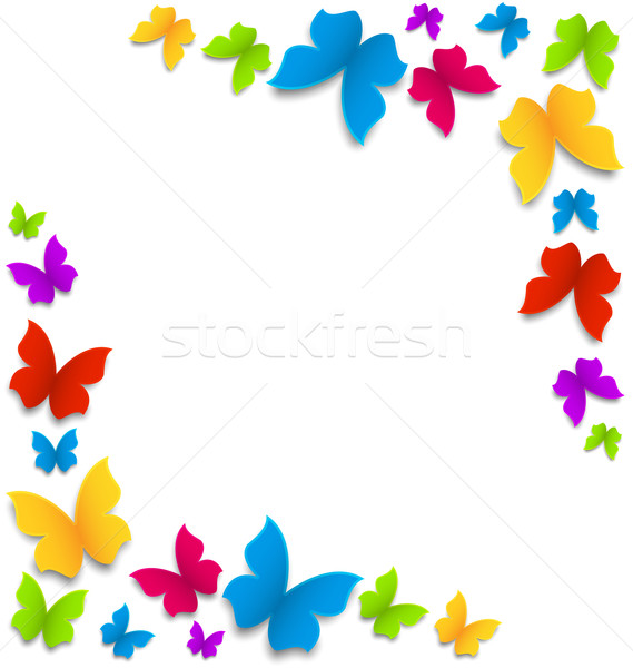 Spring background with painted butterflies border Stock photo © smeagorl