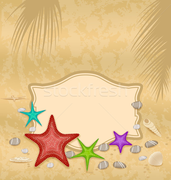 Vintage greeting card with shells and starfishes and place for t Stock photo © smeagorl
