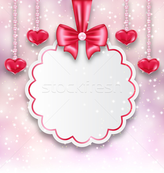 Shimmering background with celebration paper card and hanging he Stock photo © smeagorl