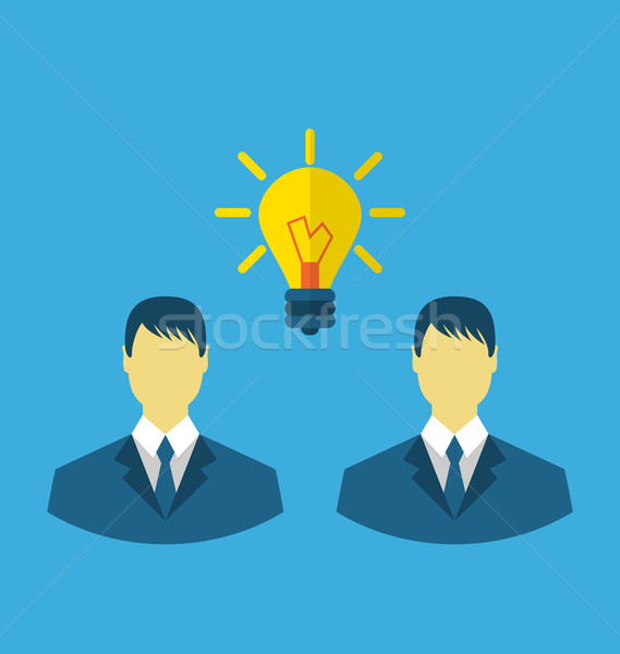 Business people with light bulbs as a concept of new ideas Stock photo © smeagorl