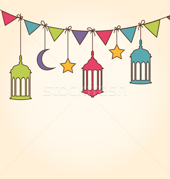 Foto stock: Ramadan · ilustração · colorido · enforcamento · lâmpadas · projeto