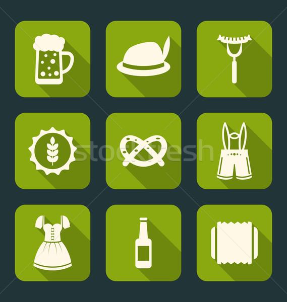 Oktoberfest tradicional elementos ilustração ícones longo Foto stock © smeagorl