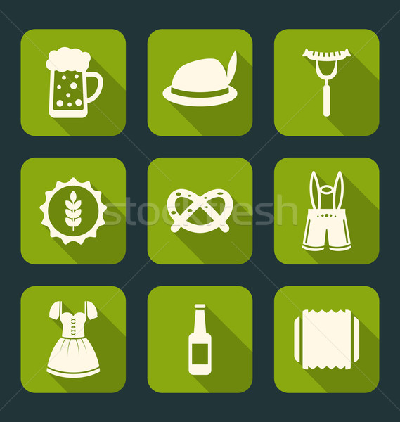Oktoberfest tradicional elementos ilustración iconos largo Foto stock © smeagorl
