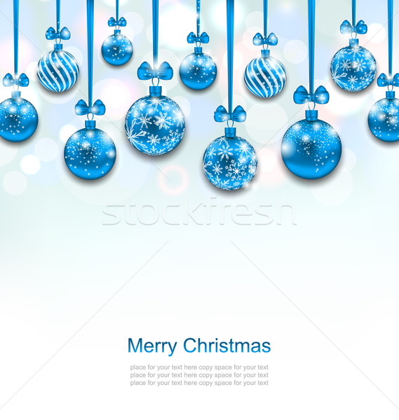 Christmas Blue Glassy Balls with Bow Ribbon Stock photo © smeagorl