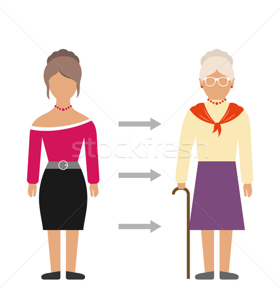 Concept of Aging Process, Young and Old Woman, Comparison. Colorful People Isolated Stock photo © smeagorl