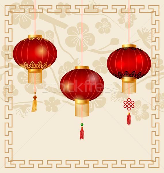Japonês chinês lanternas sakura ilustração fundo Foto stock © smeagorl