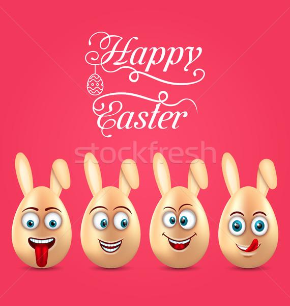 Humor húsvét meghívó mosolyog tojások fülek Stock fotó © smeagorl