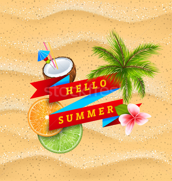 Hello Summer Banner with Flower, Coconut Cocktail, Palm Tree Leaves, Slices of Orange and Lime Stock photo © smeagorl