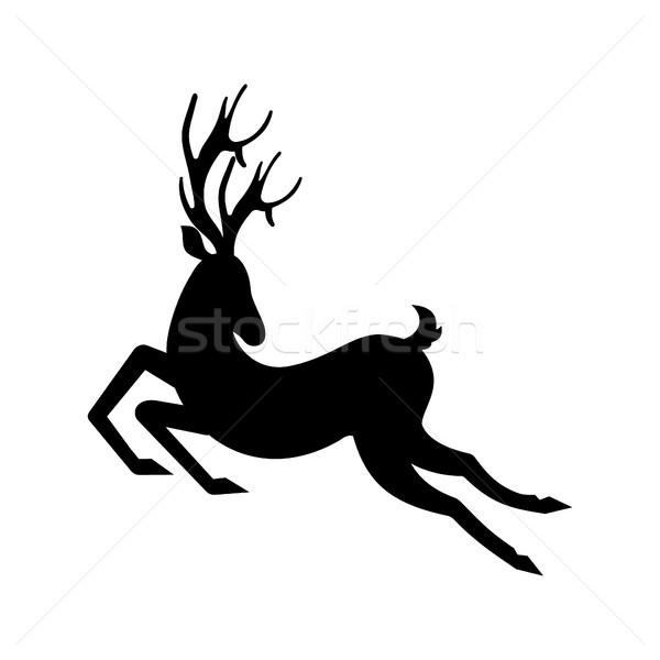 Silhouette Deer Running. Reindeer Moving. Leaping Stag Stock photo © smeagorl