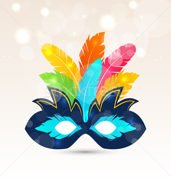 Colorful carnival or theater mask with feathers Stock photo © smeagorl