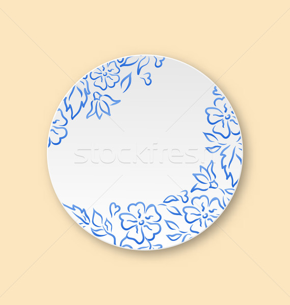 White plate with hand drawn floral ornament, empty ceramic plate Stock photo © smeagorl