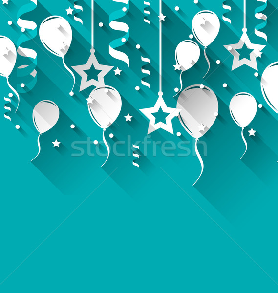 Birthday background with balloons, stars and confetti, trendy fl Stock photo © smeagorl