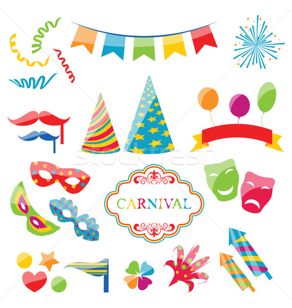 Stock photo: Set colorful objects of carnival, party, birthday
