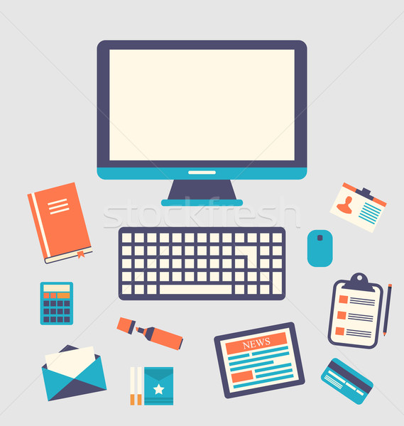 Workplace icons and object, trendy flat minimal style Stock photo © smeagorl