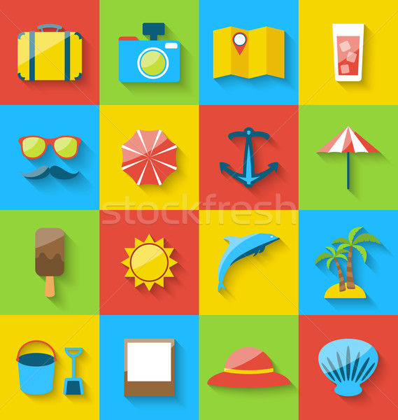 Flat icons of holiday journey, summer pictogram, sea leisure, co Stock photo © smeagorl