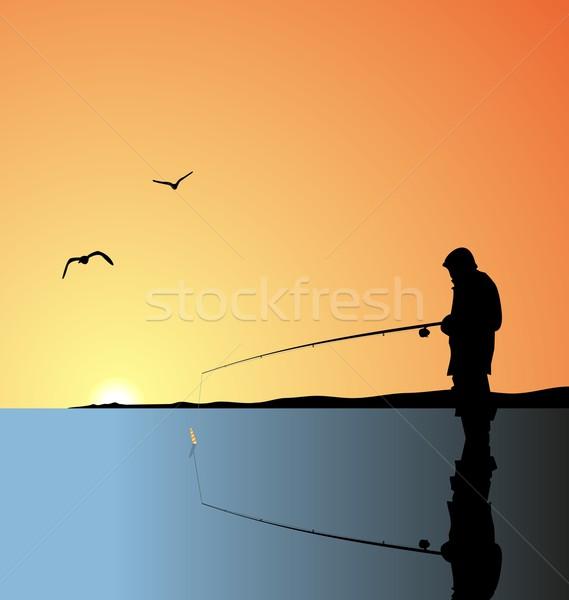 Realistic illustration fishing on lake Stock photo © smeagorl