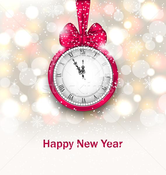 Новый год полночь часы иллюстрация счастливым Сток-фото © smeagorl