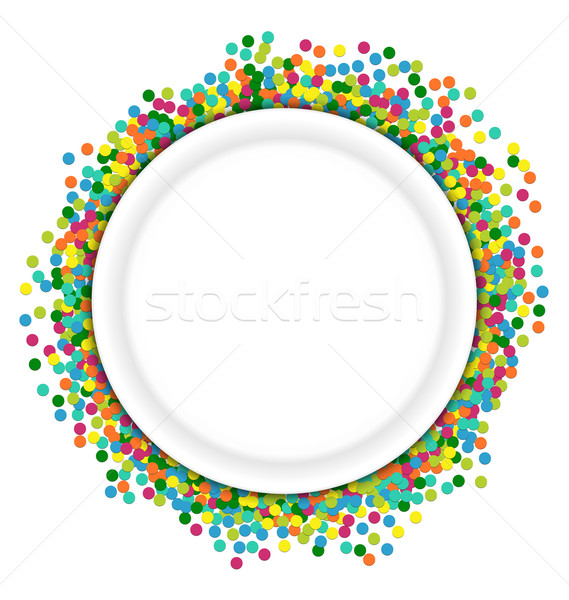 Christmas background round frame from colourful confetti Stock photo © smeagorl